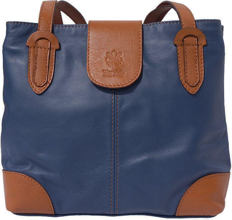 a8520862a3 Τσαντα Ωμου Δερματινη Filomena Firenze Leather 015 Σκουρο Μπλε Μπεζ