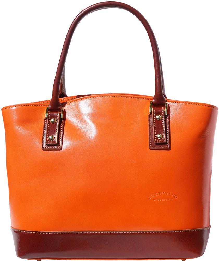 Δερμάτινη Tote Τσαντα Χειρός Firenze Leather 204 Πορτοκαλι/Καφε