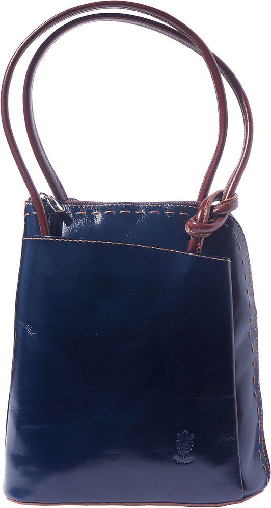 Δερματινη Τσαντα Ωμου   Πλατης Daria Firenze Leather 210 Σκουρο Μπλε Καφε  ... 7e8cf56af3b