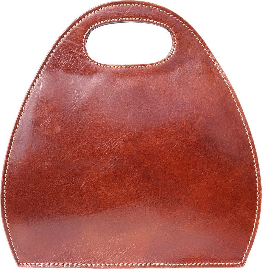 Τσαντα Χειρος Δερματινη Οβαλ Firenze Leather 6881 Καφε