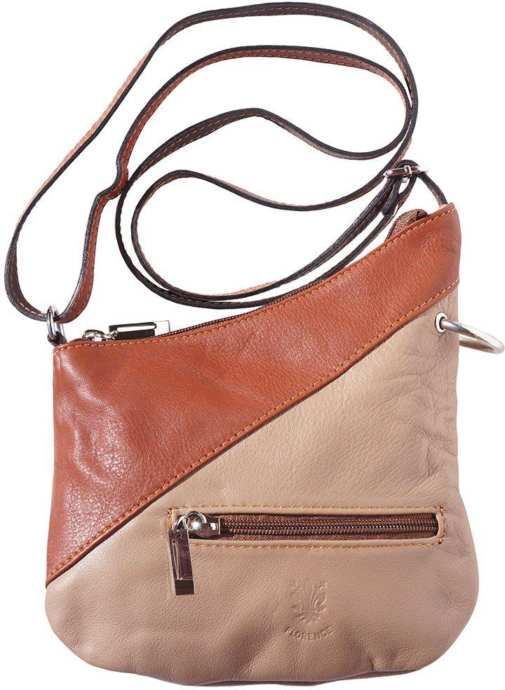 9ec9f366a7 Δερμάτινο Τσαντακι Ωμου Licia Firenze Leather 401 Σκουρο Μπεζ Καφε