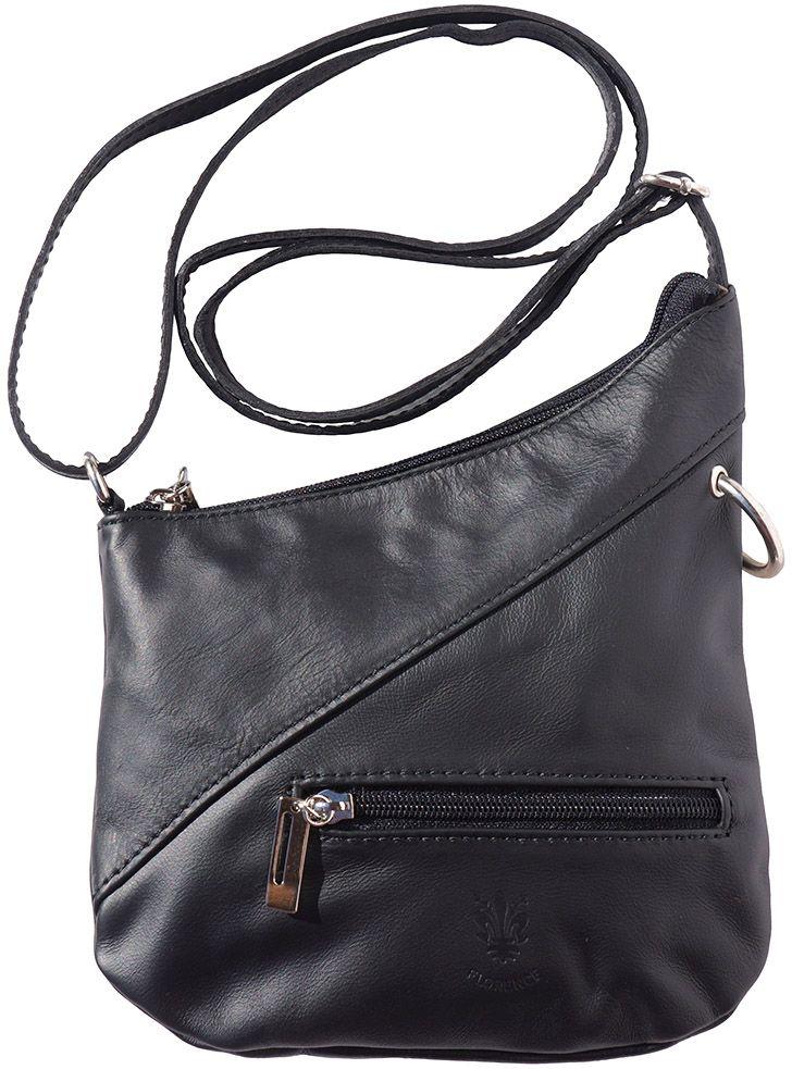 9812576357 Δερμάτινο Τσαντακι Ωμου Licia Firenze Leather 401 Μαύρο
