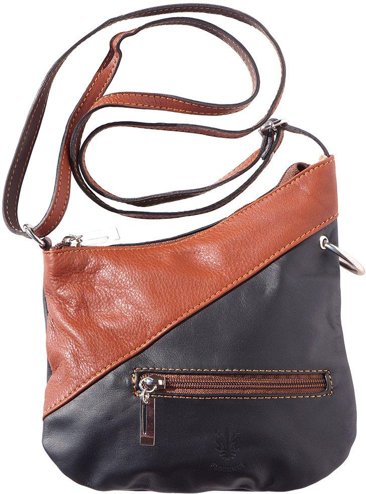 4be1f00971 Δερμάτινο Τσαντακι Ωμου Licia Firenze Leather 401 Μαύρο Καφε