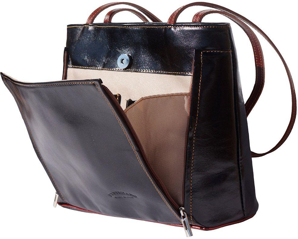 Δερμάτινη Τσαντα Ωμου Ludovica Firenze Leather 215 Μαύρο Καφε b1f184f37d9