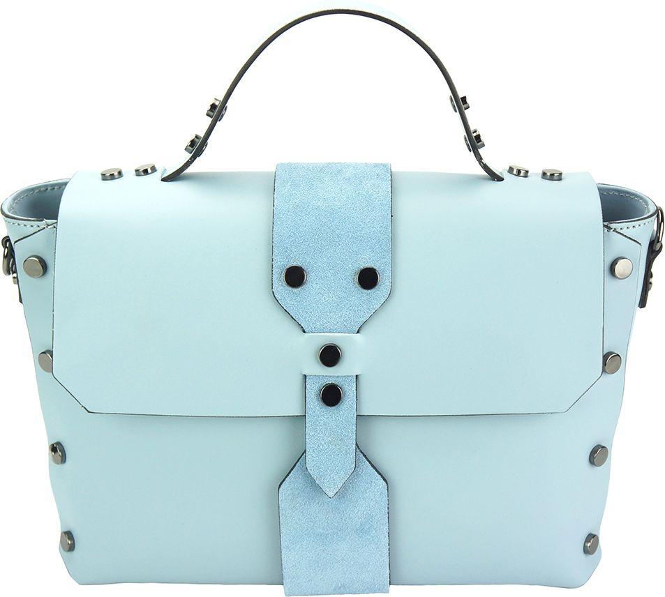 Δερμάτινη Τσάντα Χειρός Rossella Firenze Leather 8053 Γαλαζιο 9c1b931664a
