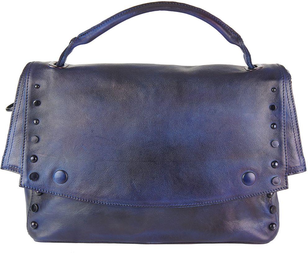 Δερματινη Τσαντα Ταχυδρομου Natalina Firenze Leather 68116 Σκουρο Μπλε a040c5dde74