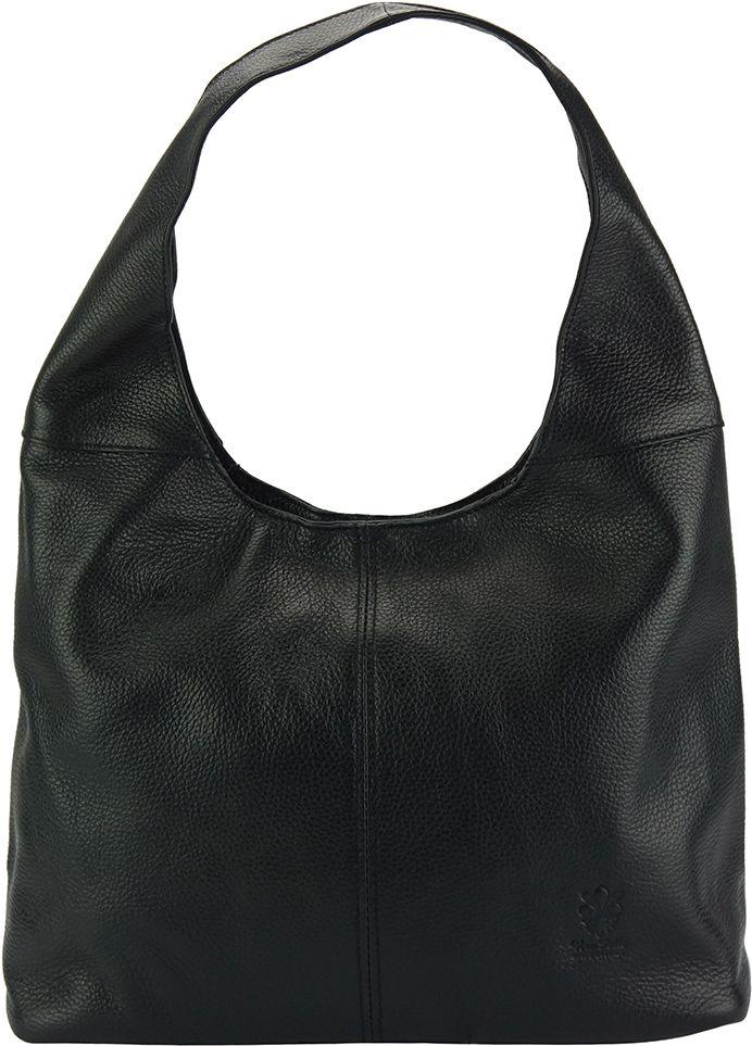 Δερματινη Γυναικεια Τσαντα Ωμου The Caissa Firenze Leather 0834 Μαύρο