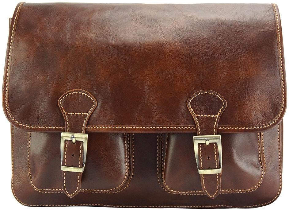 Δερματινη Τσαντα Ταχυδρομου Pamela Firenze Leather 7609 Καφε γυναίκα   τσάντες ώμου   χειρός