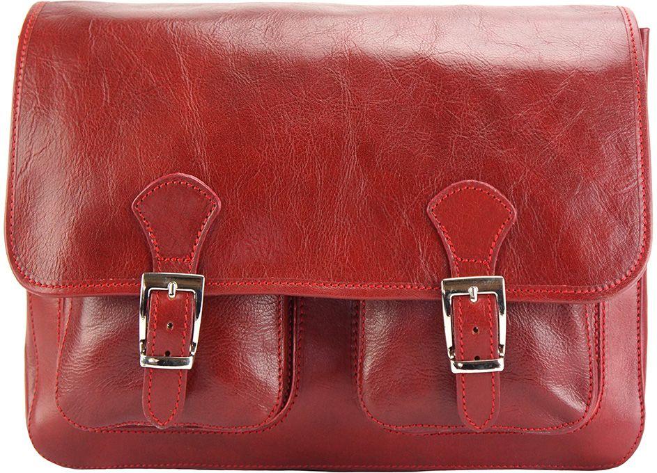 Δερματινη Τσαντα Ταχυδρομου Pamela Firenze Leather 7609 Σκουρο Κόκκινο γυναίκα   τσάντες ώμου   χειρός