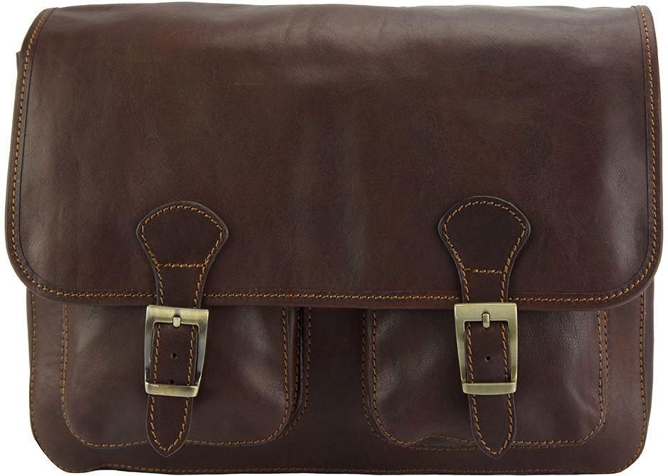 Δερματινη Τσαντα Ταχυδρομου Pamela Firenze Leather 7609 Σκουρο Καφε γυναίκα   τσάντες ώμου   χειρός