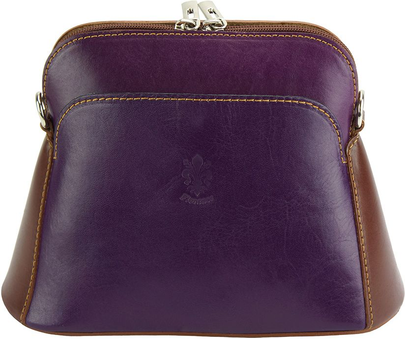 8560c6cd7d Δερματινη Τσαντα Ωμου Gemma Firenze Leather 214 Μωβ Καφε