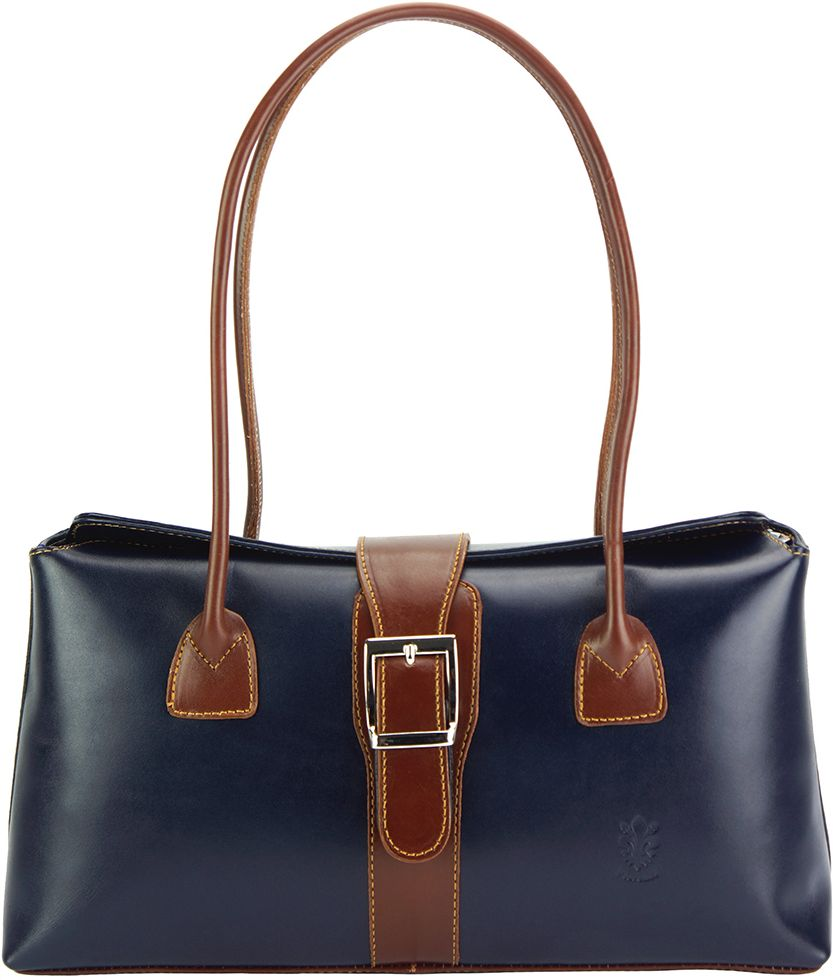 ca9959e70b Δερμάτινη Τσάντα Χειρός Erminia Firenze Leather 217 Σκουρο Μπλε Καφε