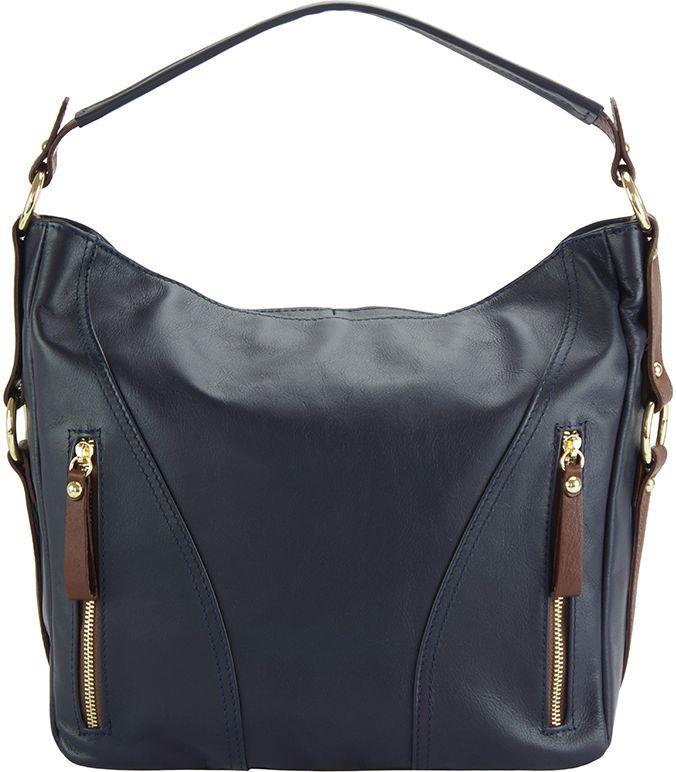Δερμάτινη Τσάντα Ωμου Sabrina Firenze Leather 3021 Σκουρο Μπλε Καφε ... e5dccd763da