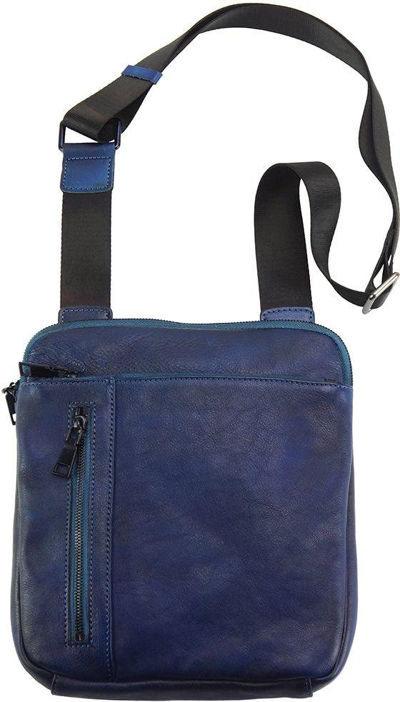 Δερματινη Τσαντα Ωμου Gaspare Firenze Leather 68025 Σκουρο Μπλε a5757711b8c