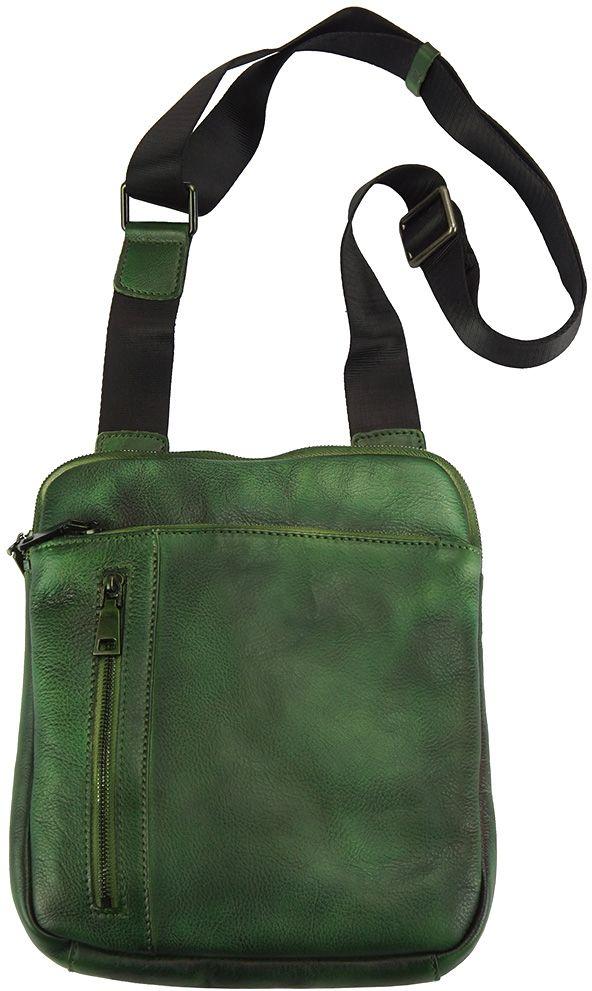 Δερματινη Τσαντα Ωμου Gaspare Firenze Leather 68025 Σκουρο Πρασινο