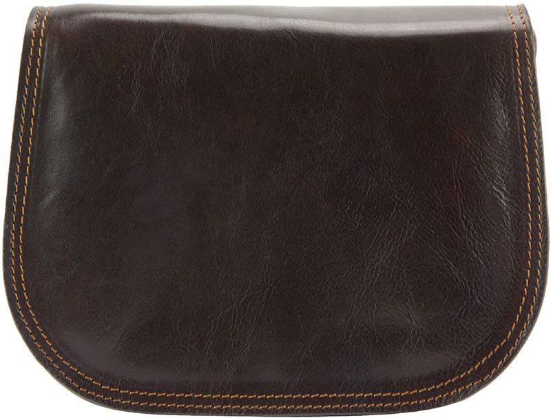 Δερμάτινη Τσάντα Ωμου Ines Firenze Leather 6568 Σκουρο Καφε