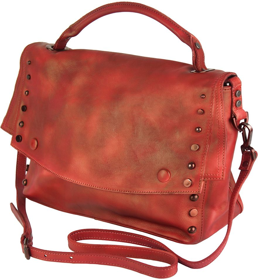 2cebb690c1 ... Δερματινη Τσαντα Ταχυδρομου Natalina Firenze Leather 68116 Κόκκινο ...