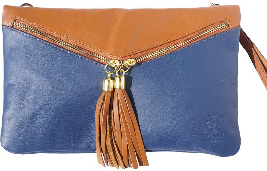 4de890e5d8 Δερματινο Τσαντακι Clutch Rufina Firenze Leather 6127 Σκουρο Μπλε Μπεζ