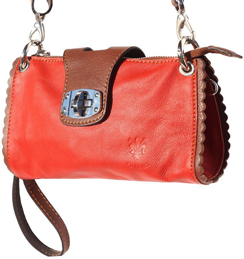 Τσαντακι Ωμου Δερματινο Be Exclusive Firenze Leather 8611 Κόκκινο/Καφε γυναίκα   φάκελοι clutch bags