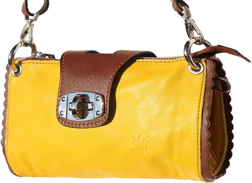 Τσαντακι Ωμου Δερματινο Be Exclusive Firenze Leather 8611 Κιτρινο/Καφε γυναίκα   φάκελοι clutch bags