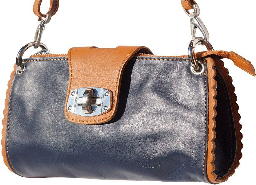 Τσαντακι Ωμου Δερματινο Be Exclusive Firenze Leather 8611 Σκουρο Μπλε/Μπεζ γυναίκα   φάκελοι clutch bags
