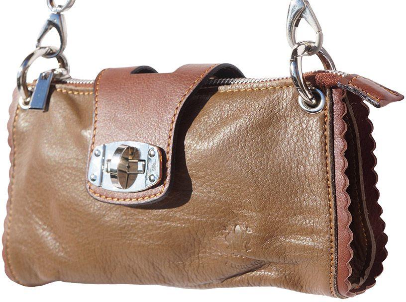 Τσαντακι Ωμου Δερματινο Be Exclusive Firenze Leather 8611 Σκουρο Μπεζ /Καφε γυναίκα   φάκελοι clutch bags