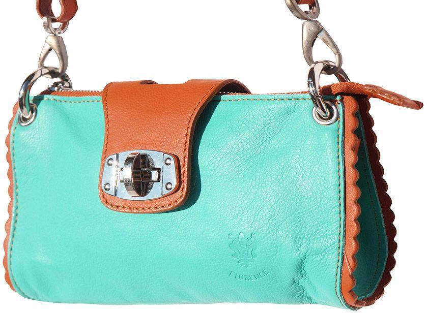 Τσαντακι Ωμου Δερματινο Be Exclusive Firenze Leather 8611 Τυρκουαζ/Μπεζ γυναίκα   φάκελοι clutch bags
