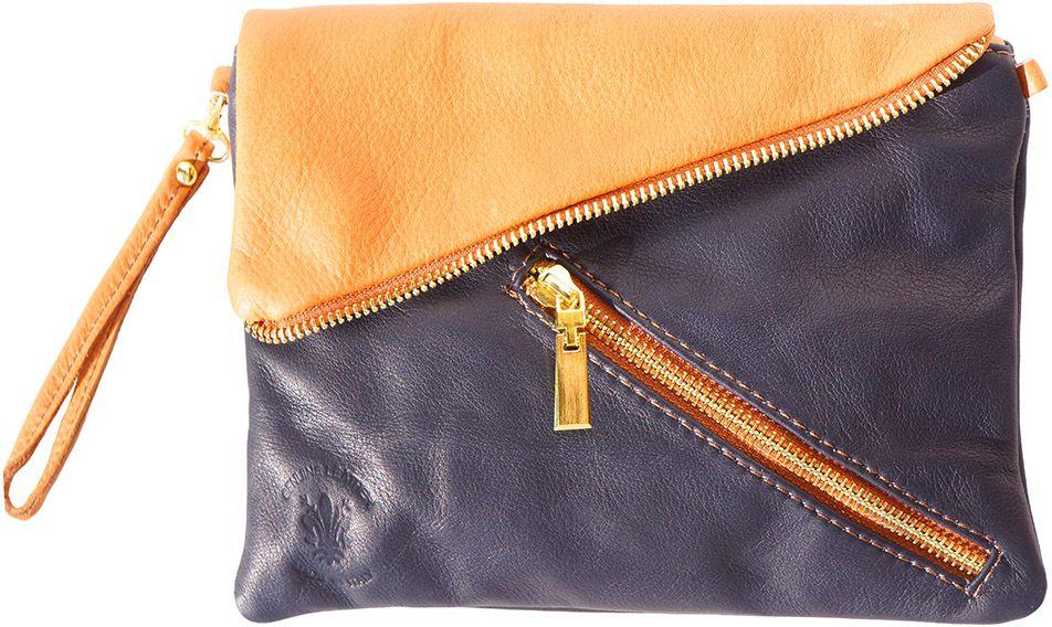 2be504c451 Δερμάτινο Τσαντακι Ωμου Firenze Leather 417 Σκουρο Μπλε Μπεζ