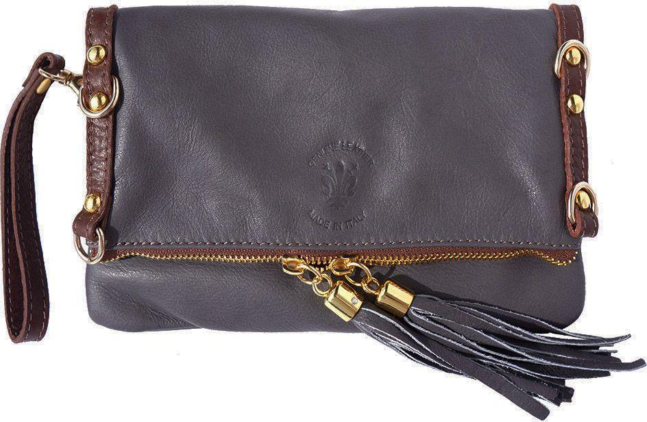 Τσαντάκι Clutch Δερμάτινο Giorgia GM Firenze Leather 9603 Γκρι/Καφε