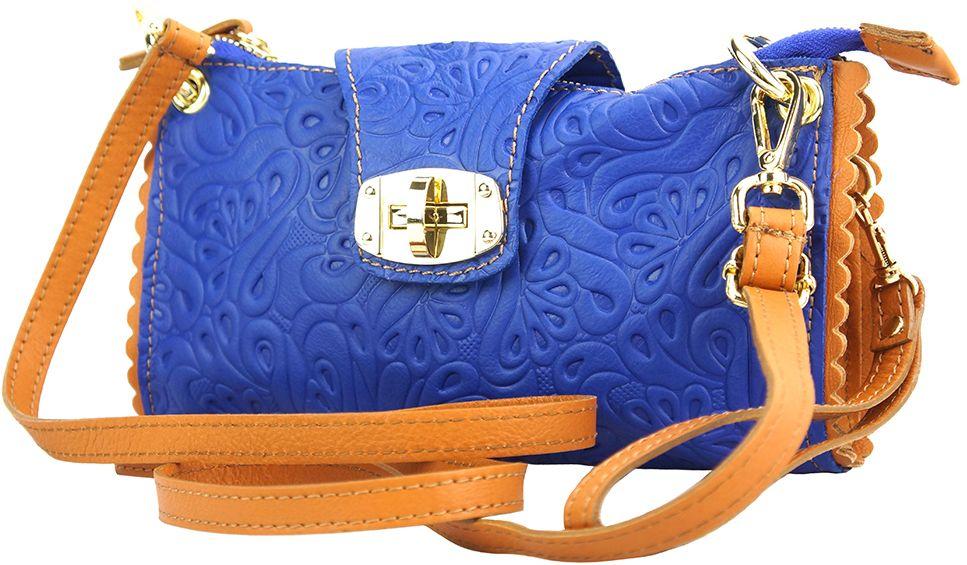Τσαντακι Clutch Δερματινο Be Exclusive Firenze Leather 8611S Μπλε/Camel γυναίκα   φάκελοι clutch bags