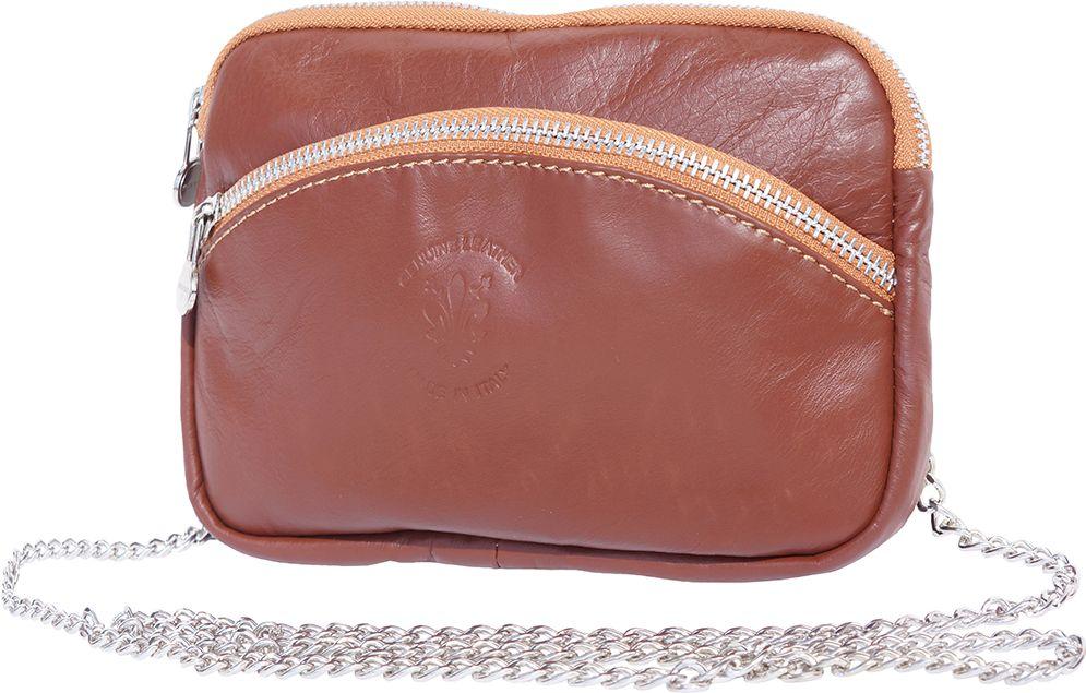 Τσαντακι Ωμου Δερματινο Firenze Leather B335 Καφε/Μπεζ