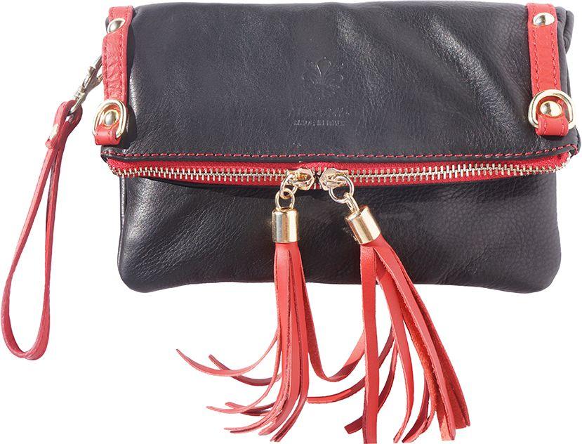 053d048b87 Δερμάτινο Τσαντακι Clutch Giorgia Firenze Leather 9606 Μαύρο Κόκκινο ...