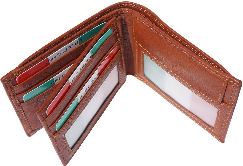 Δερμάτινο Πορτοφόλι Με Θήκη Νομισμάτων Firenze Leather PF077 Μπεζ ανδρας   πορτοφόλια