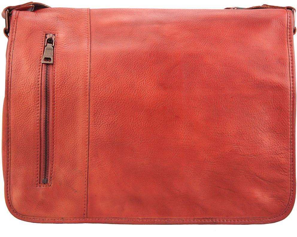 2326680ff07 Δερματινη Τσαντα Ταχυδρομου Grigori Firenze Leather 68023 Κόκκινο ...