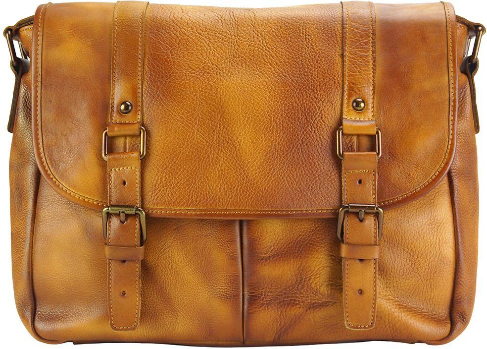 Δερματινη Τσαντα Ταχυδρομου Mattia Firenze Leather 68140 Μπεζ ανδρας   χαρτοφύλακες