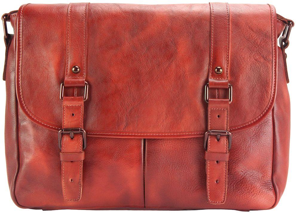 Δερματινη Τσαντα Ταχυδρομου Mattia Firenze Leather 68140 Κόκκινο ανδρας   χαρτοφύλακες