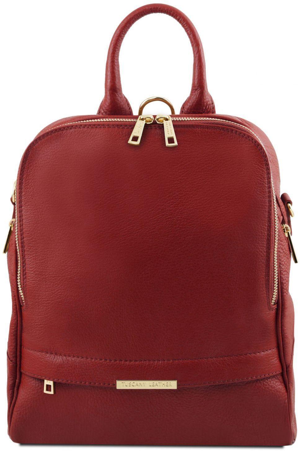 Γυναικεία Τσάντα Πλάτης Δερμάτινη TL141376 Κόκκινο Tuscany Leather γυναίκα   τσάντες πλάτης