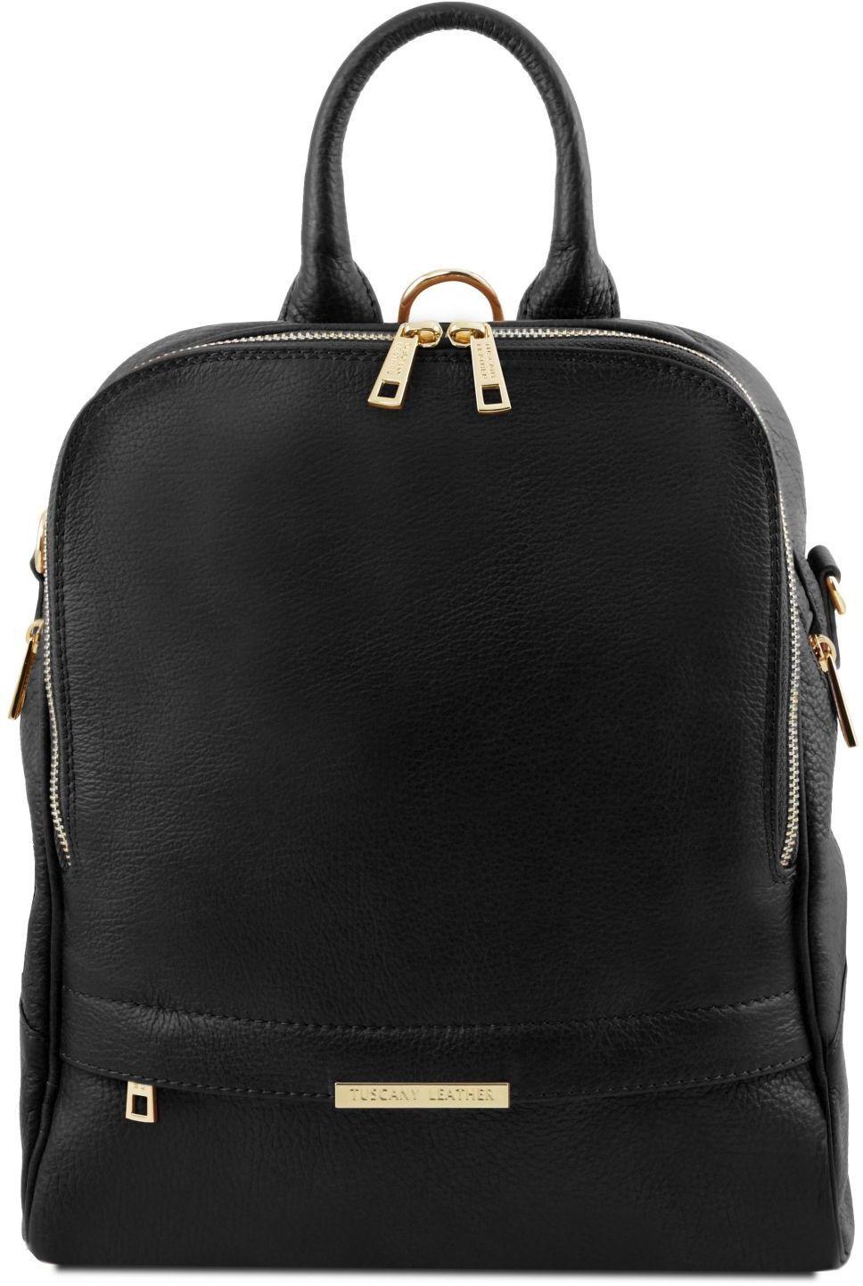 Γυναικεία Τσάντα Πλάτης Δερμάτινη TL141376 Μαύρο Tuscany Leather γυναίκα   τσάντες πλάτης