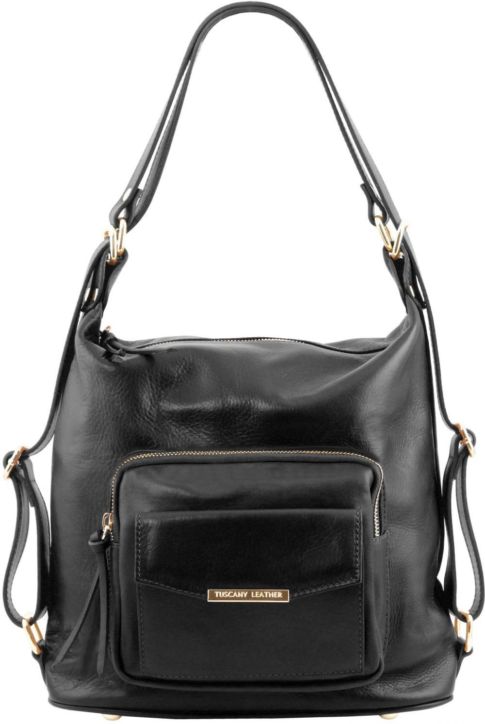 d59b51818a Γυναικεία Τσάντα Δερμάτινη Ώμου   Πλάτης TL141535 Μαύρο Tuscany Leather