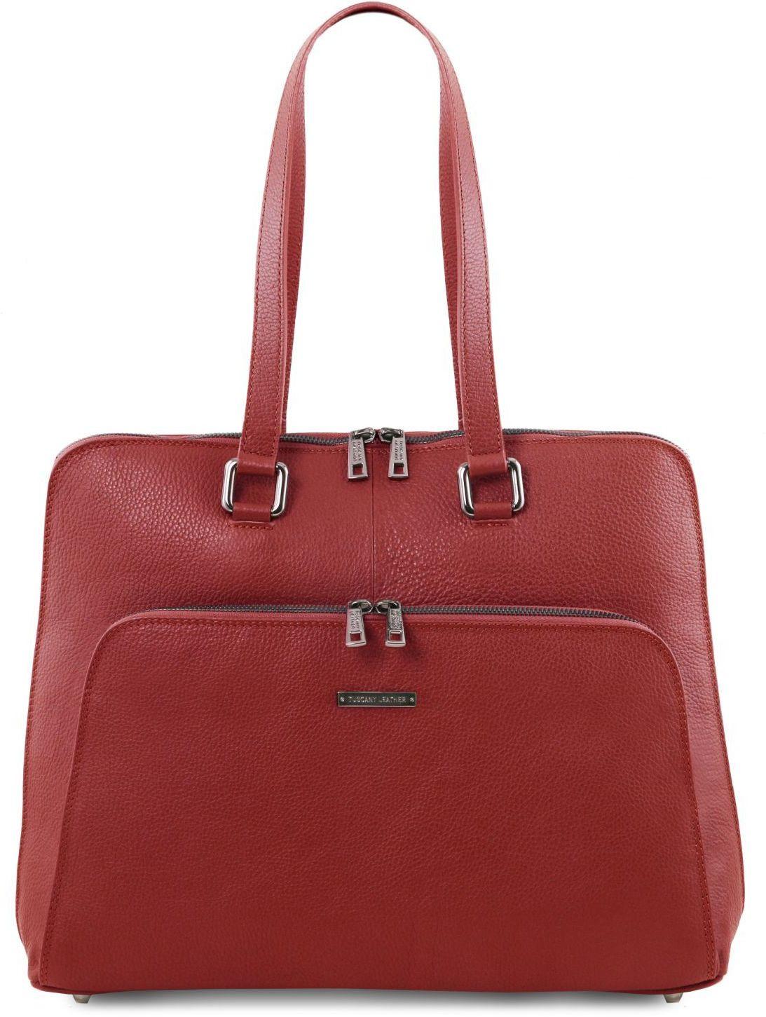 edefa38e93 Γυναικεία Επαγγελματική Τσάντα Δερμάτινη Lucca Κόκκινο Tuscany Leather ...