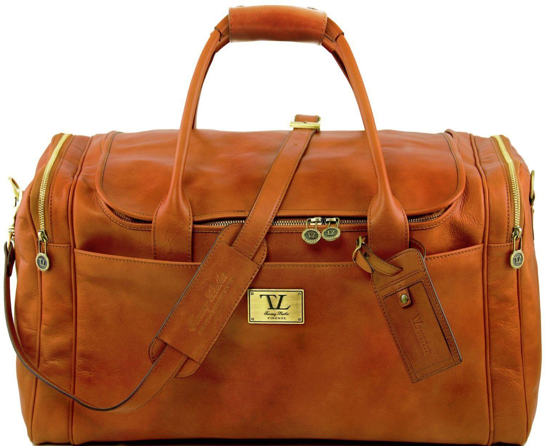 Σάκος ταξιδίου δερμάτινος Voyager TL141281 Μελί Tuscany Leather