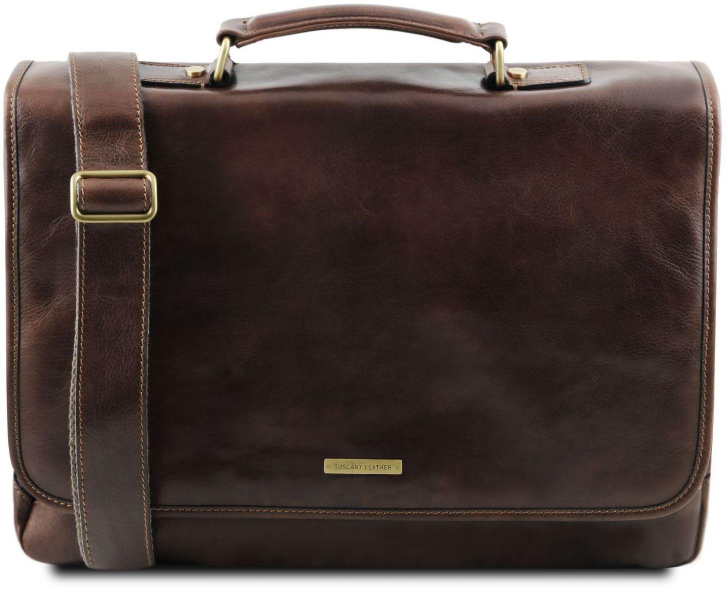97d7a9e567 Ανδρική Τσάντα Δερμάτινη Mantova με Smart Connect™ Καφέ σκούρο Tuscany  Leather ...