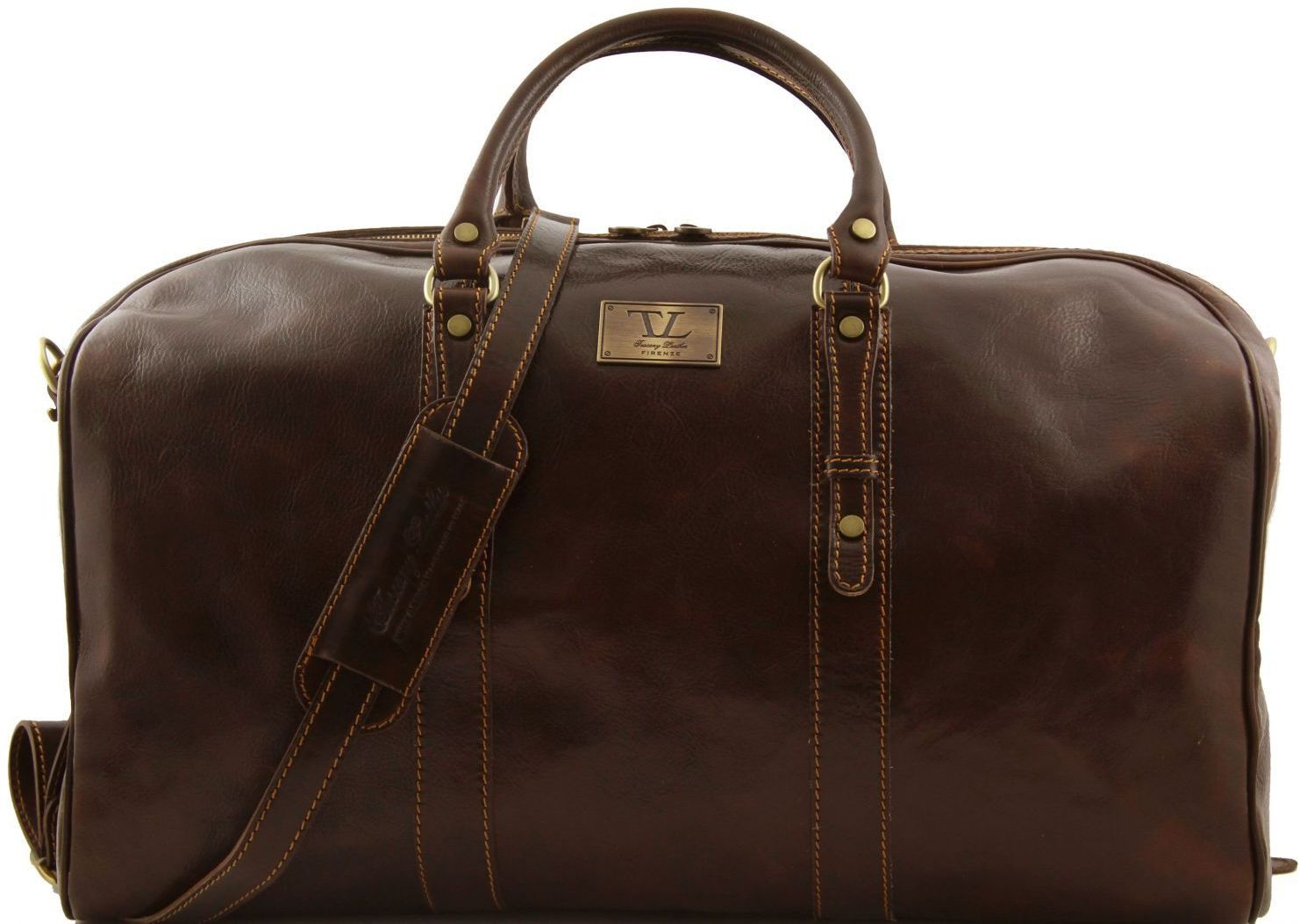 Σάκος Ταξιδίου Δερμάτινος Francoforte L Καφέ Σκούρο Tuscany Leather