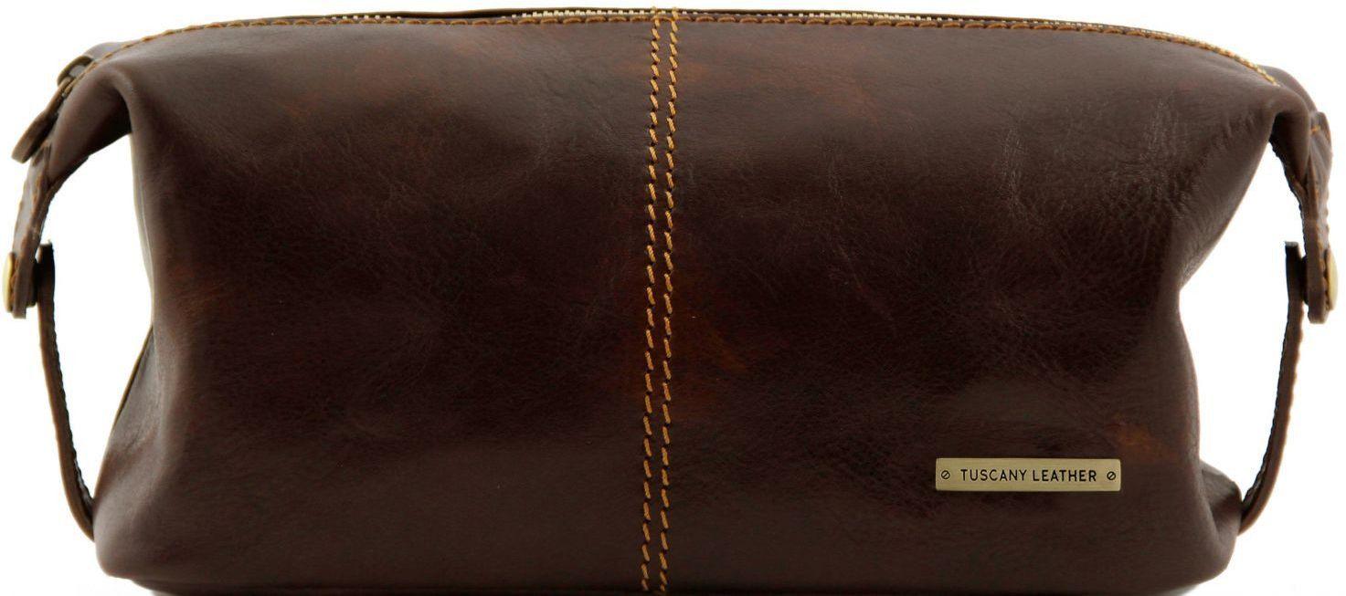Θήκη – Τσαντάκι Καλλυντικών Δερμάτινο Roxy Καφέ σκούρο Tuscany Leather