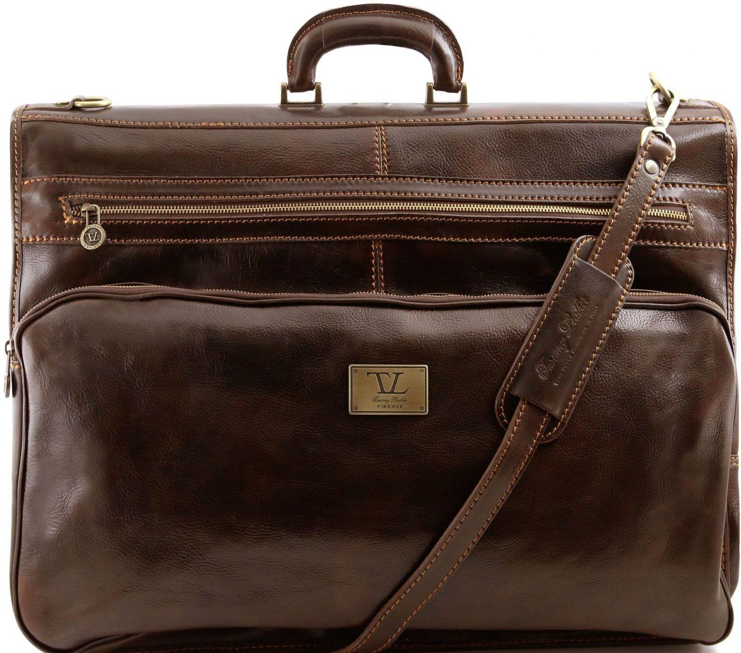 Βαλίτσα / Θήκη Ενδυμάτων Δερμάτινη Papeete Καφέ σκούρο Tuscany Leather