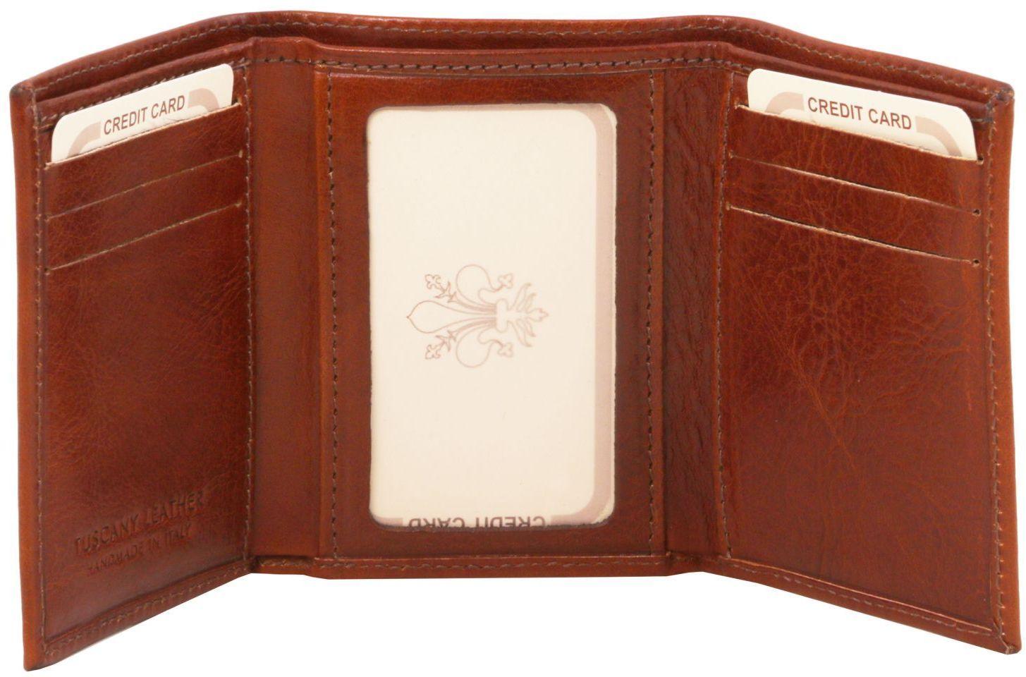 Δερμάτινη θήκη για κάρτες TL140801 Καφέ Σκούρο Tuscany Leather