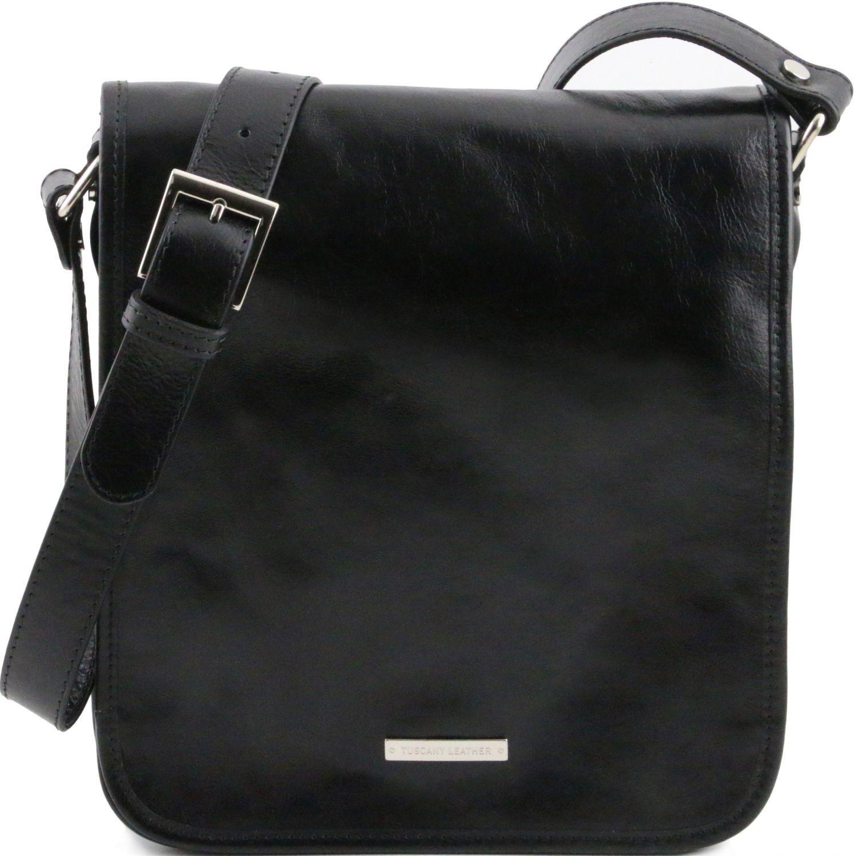 4731fde131 Τσάντες ώμου · Ανδρικό Τσαντάκι Δερμάτινο Messenger TL141255 Μαύρο Tuscany  Leather