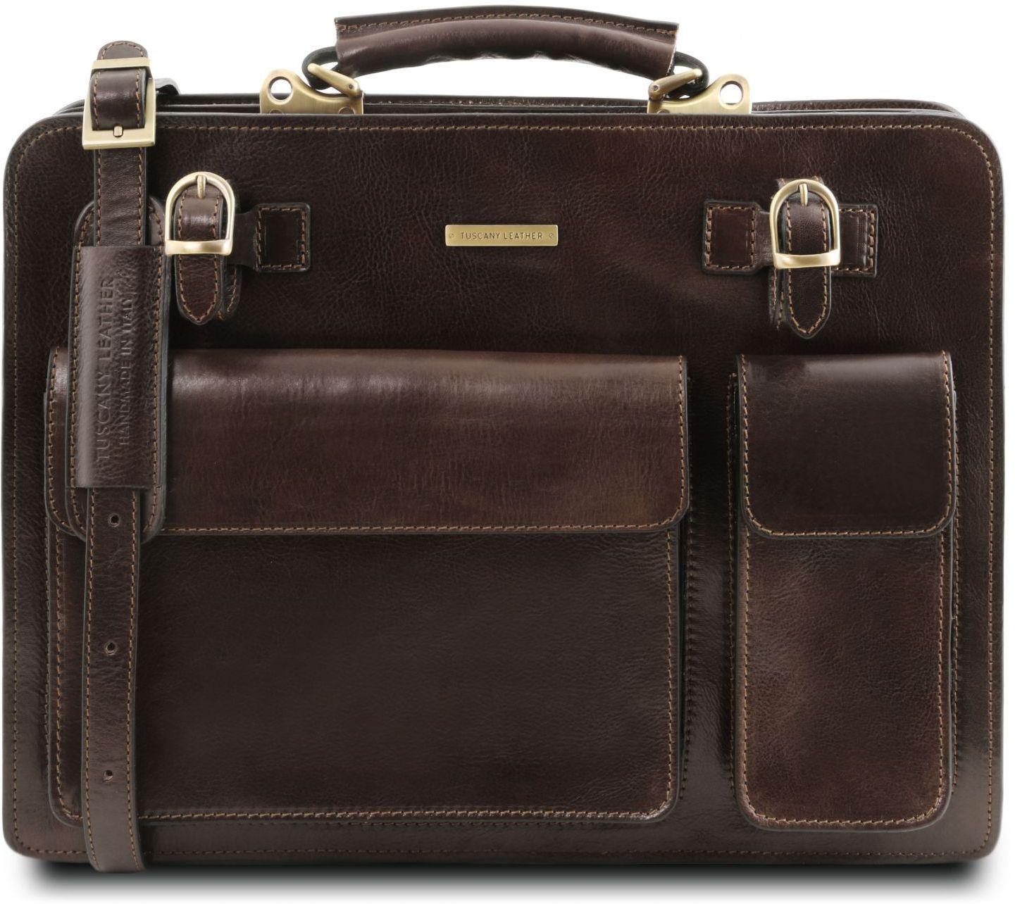 cc34a1ec23 Επαγγελματική Τσάντα Δερμάτινη Venezia Καφέ σκούρο Tuscany Leather ...