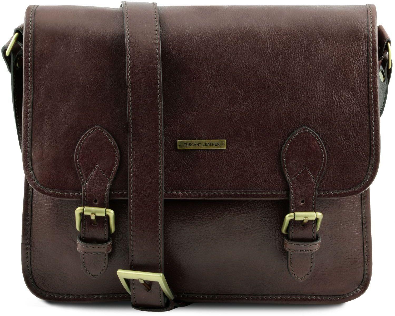 f669137303 Τσάντα Messenger Δερμάτινη TL Postman Καφέ σκούρο Tuscany Leather
