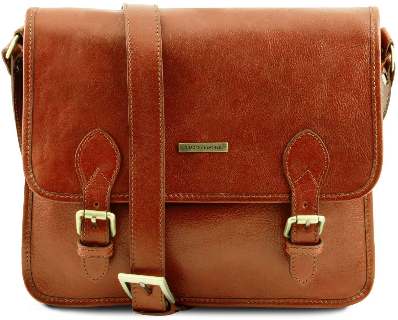 13843b1dfc Τσάντα Messenger Δερμάτινη TL Postman Μελί Tuscany Leather